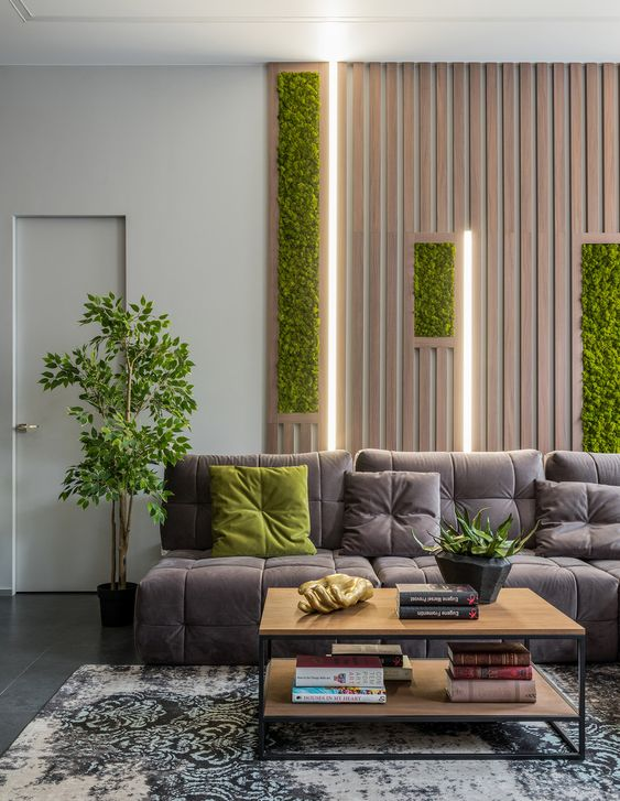 a contemporary biophilic living room with a wooden plank wall with greenery incorporated and some potted plants