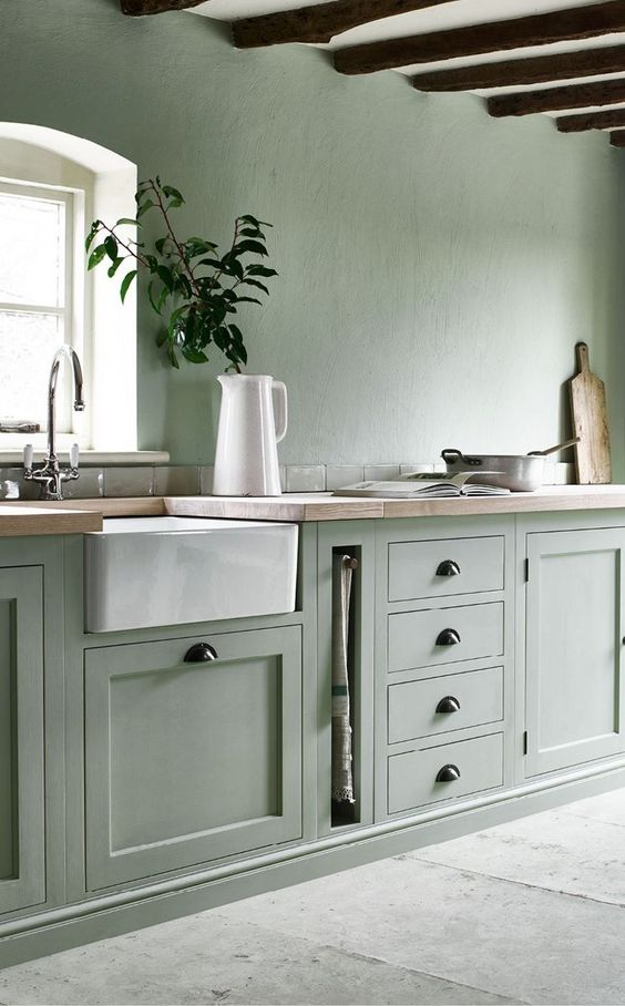 a pale green kitchen with a white ceiling and appliances plus black handles looks ethereal and very natural