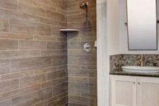 a contemporary but rustic-looking bathroom design