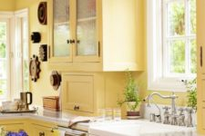 a vintage yellow kitchen with refreshing white accents and dark stained touches is a bold idea with a chic feel