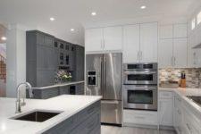 a stylish white kitchen design white grey touches