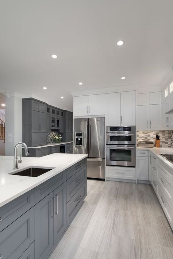 a stylish white kitchen design white grey touches