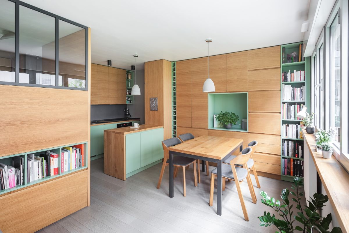 This small apartment in Paris is super functional and includes lots of zones and necessary things to use