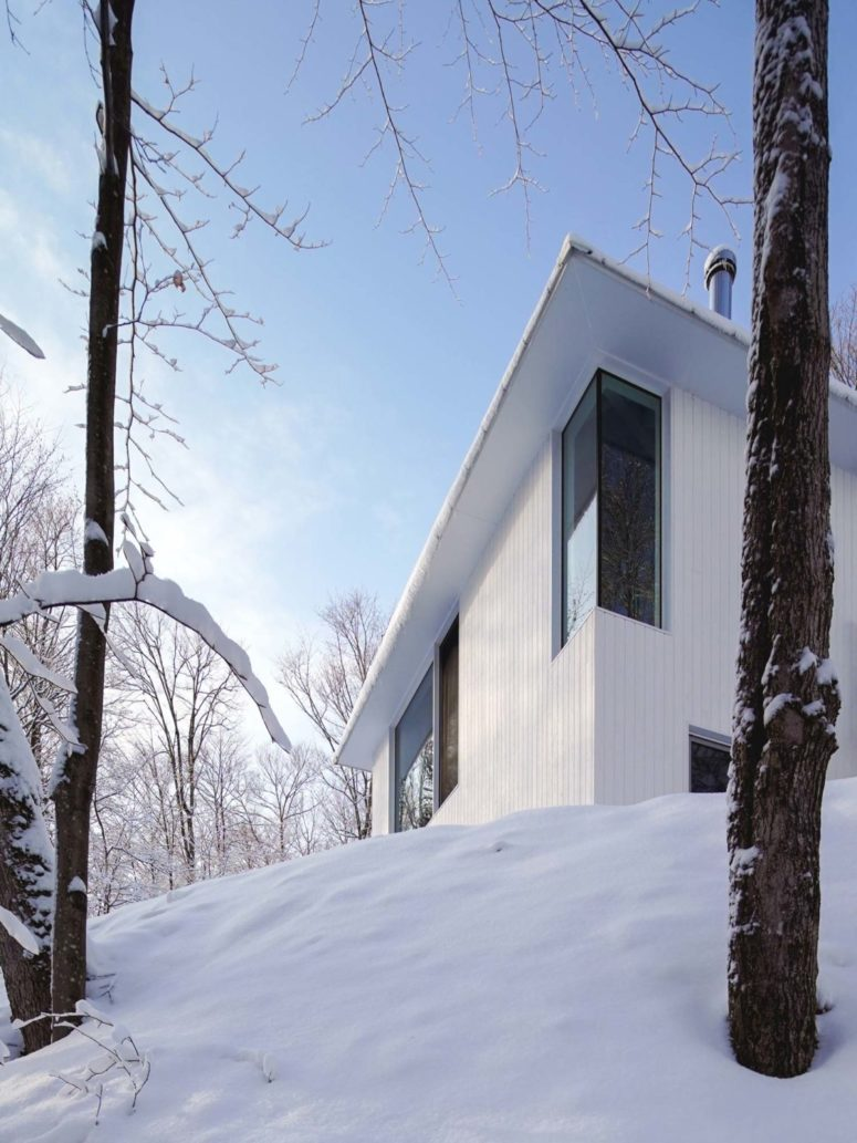 The house is clad with white wood and there are windows dotting the whole facade to let more light in