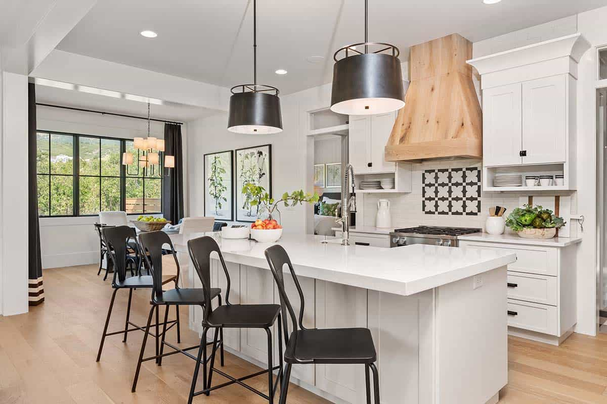 I love the large wooden hood and touches of black and dark grey for drama