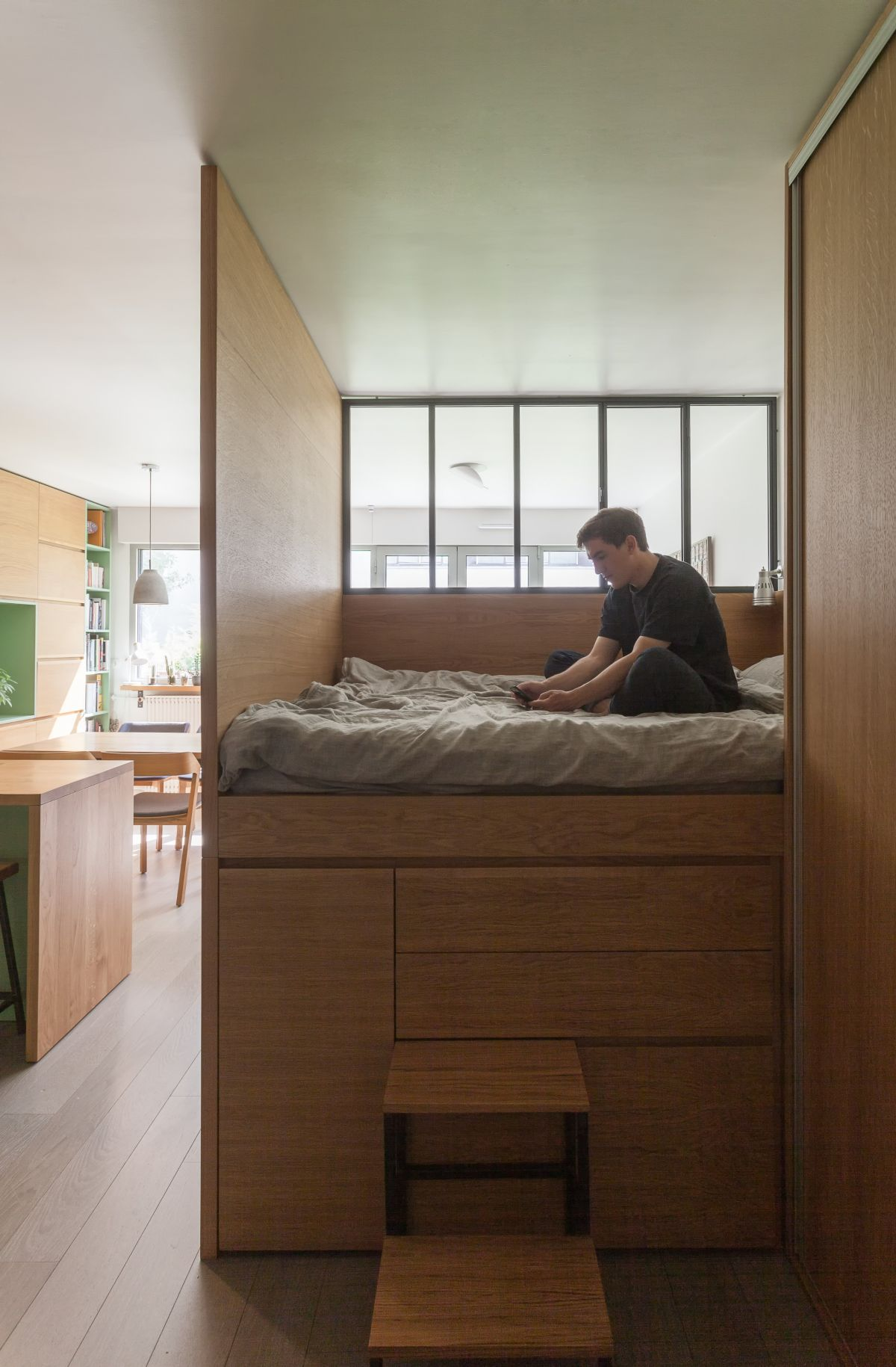 There's a small loft sleeping space with plenty of storage also