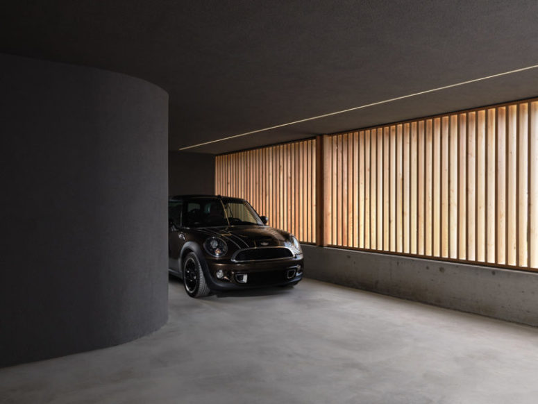 a built-in garage