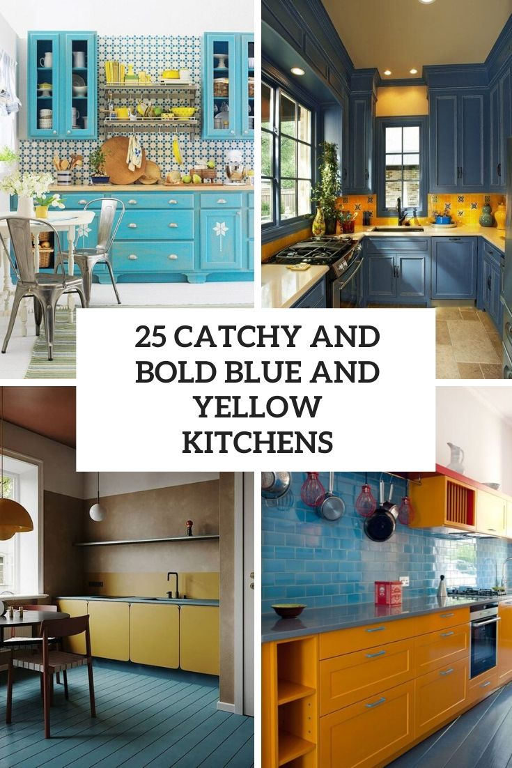 catchy and bold blue and yellow kitchens cover