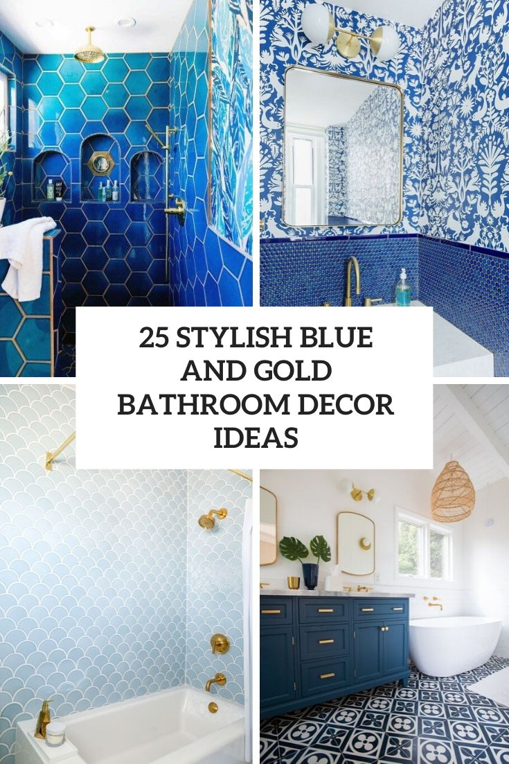 stylish blue and gold bathroom decor ideas cover