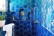 a stylish blue bathroom design