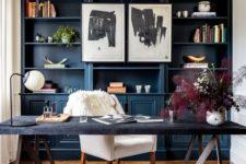 a cozy blue farmhouse office design