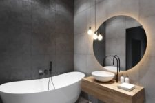 a stylish bathroom with a floating vanity