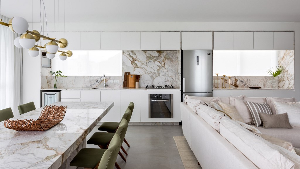 This luxurious modern apartment features Brazilian marble and local designs plus local Brazilian types of wood