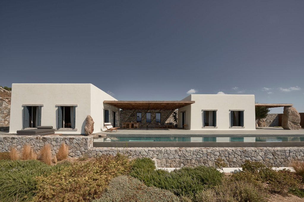 This villa in Greece is done with Scandinavian aesthetics and features gorgeous sea views