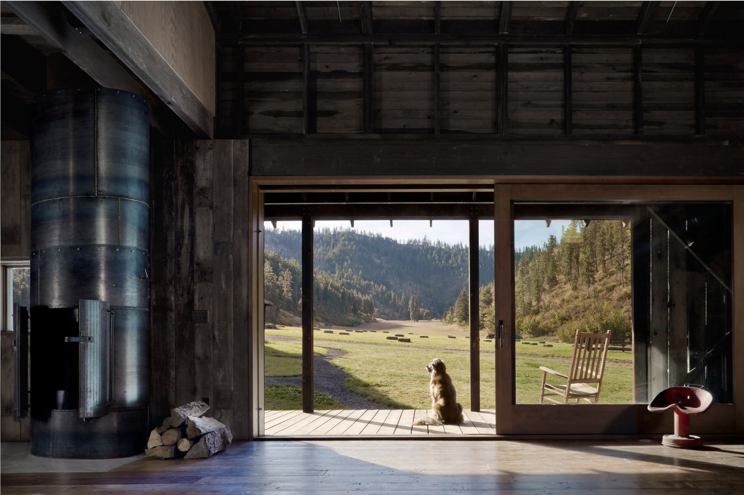 The home is indoor outdoor as much as possible, there are glazed doors to bring views and light in