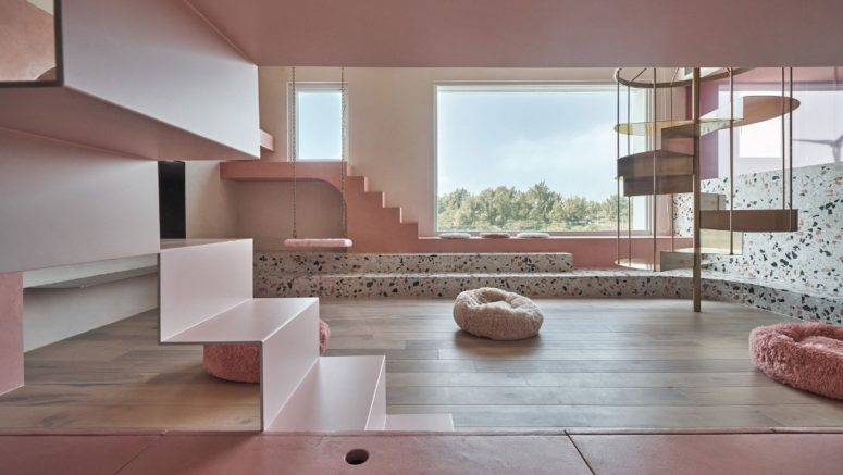 The house is done in contemporary style and features millenial pink and lots of terrazzo for a fun touch