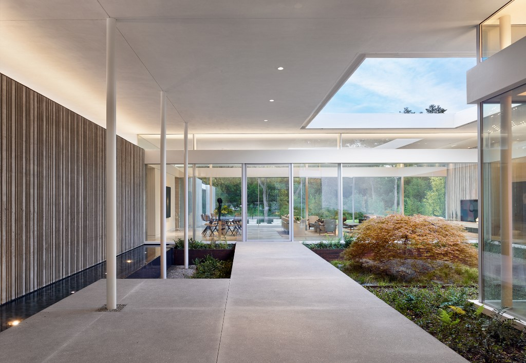 This is an inner patio with some peculiar plants and a skylight plus light along the walls