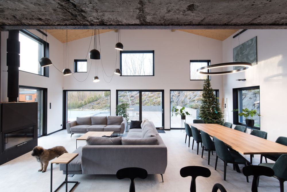 a cool open layout space in industrial minimalist style