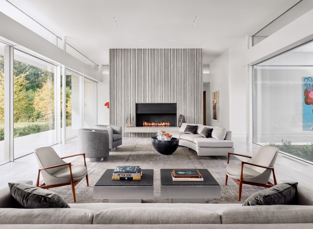 a contemporary living room design in neutral tones