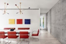 an eye-catching gallery wall in a dining room