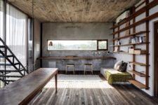 a working space with a floating desk