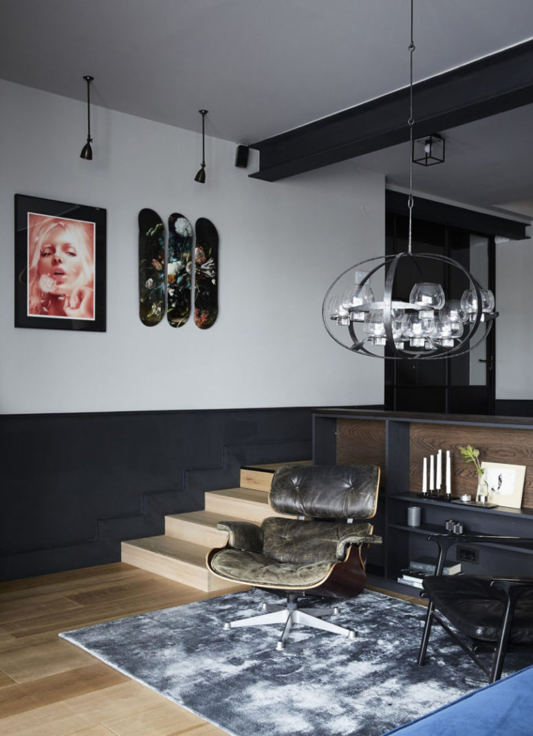 The furniture is elegant mid-century modern, and lamps make the spaces more eye-catching