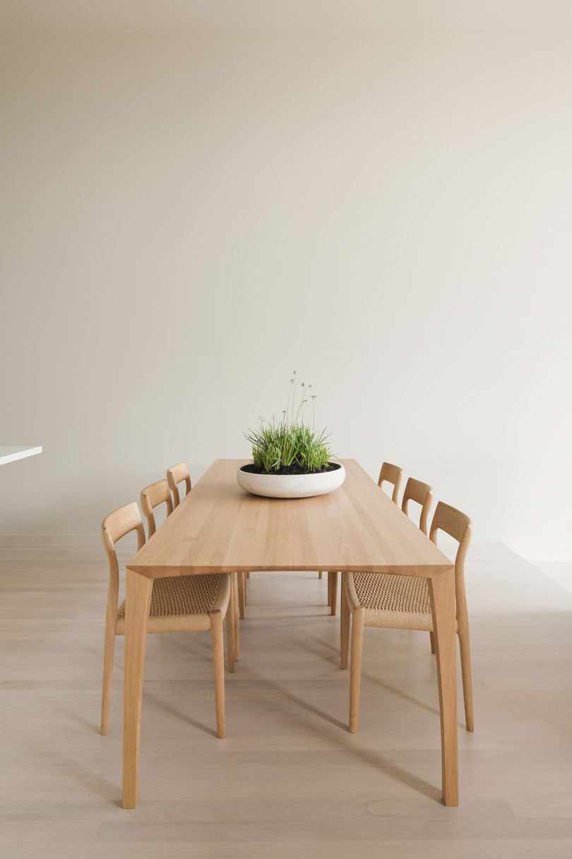 It features only a chic wooden dining set and a potted grass centerpiece