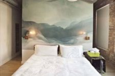11 an abstract statement artwork instead of a usual headboard is a cool and chic idea that will an artsy touch to the space