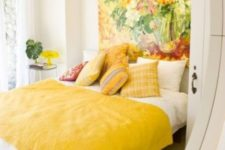 12 a gorgeous super bold artwork as a statement headboard for a color-filled bedroom that raises the mood