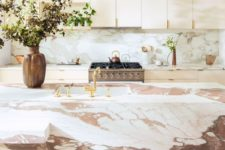 19 a sleek plywood kitchen with a pink marble backsplash and a gorgeous pink marble kitchen island that wows