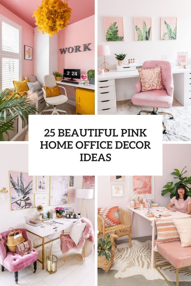 beautiful pink home office decor ideas cover
