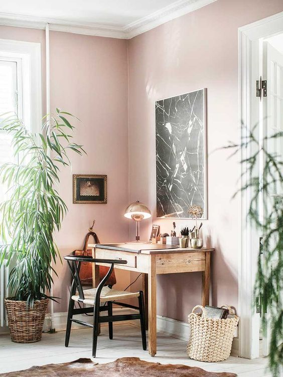 a creative home office with pink walls, wooden furniture, potted greenery and an animal skin rug looks unusual