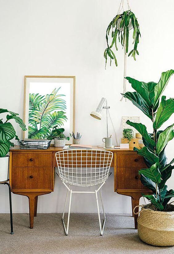 a mid-century modern home office in neutrals, with a vintage wooden desj, potted plants and a tropical artwork