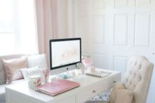 a neutral vintage-inspired home office with pink curtains, pillows, an ottoman and even a laptop for a cute look