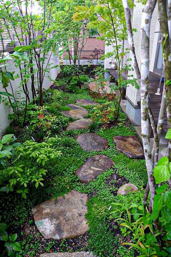 a small Japanese inspired garden with rocks as pavements, greenery, shrubs and a couple of trees is very peaceful