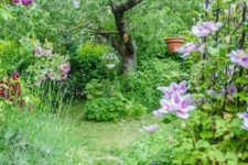 a small yet very lush garden with lots of greenery, grass, colorful blooms, shrubs and a large tree in the center