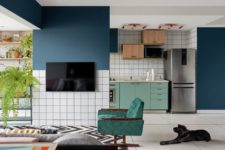 01 This bold home was inspired by electronic music, was done with contrasting colors, finishes and much pattern