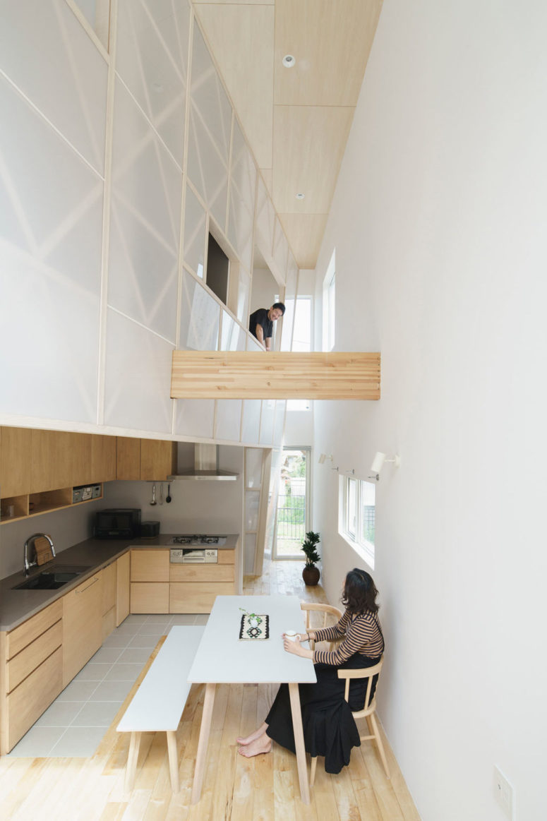 Small Wooden House With An Acrylic Gridded Curtain
