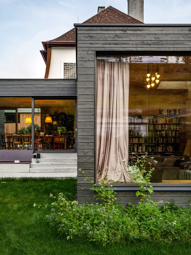 The spaces are opened to outdoors with glazed walls as much as possible