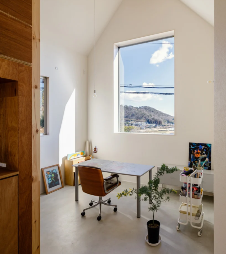 a small home office design with a view