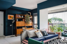 a living room designed with mixed colors