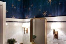 a compact yet stylish powder room design