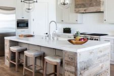18 a neutral modern farmhouse kitchen with statement glass and metal lights over the kitchen island