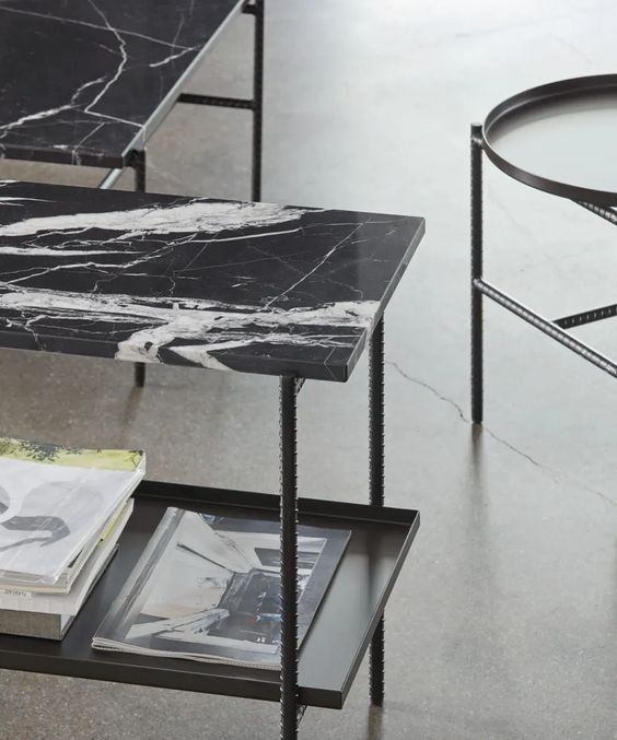 a chic black marble side table or bench is a gorgeous piece for adding elegance to the space
