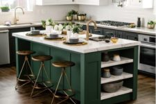 a kitchen island to cook and eat on