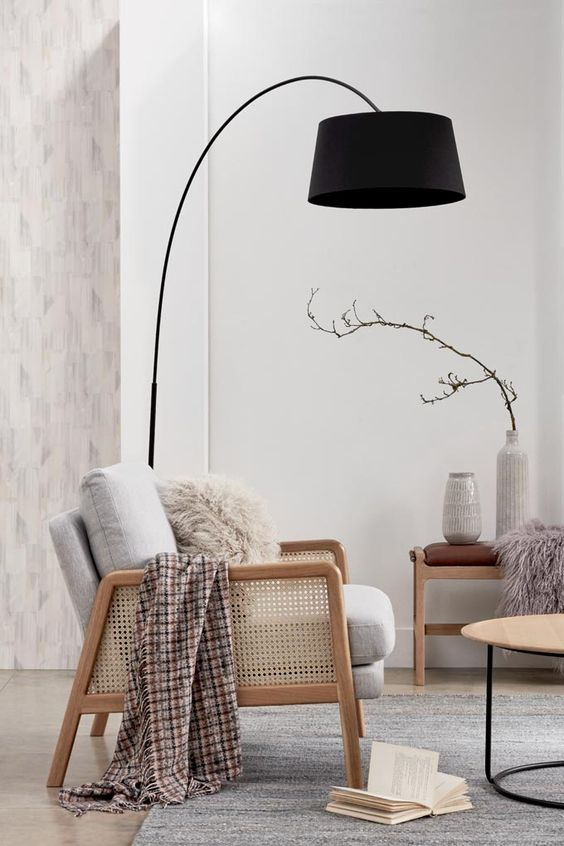 a gorgeous black floor lamp will add a bit of character and much interest to your neutral space