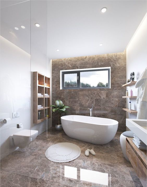 a refined bathroom with white walls and a statement brown marble wall and floor, modern wooden furniture and white appliances