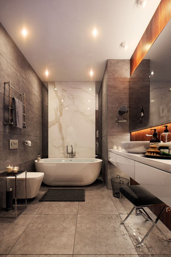 a stylish contemporary bathroom with light brown tiles, tan tiles, white marble and white appliances