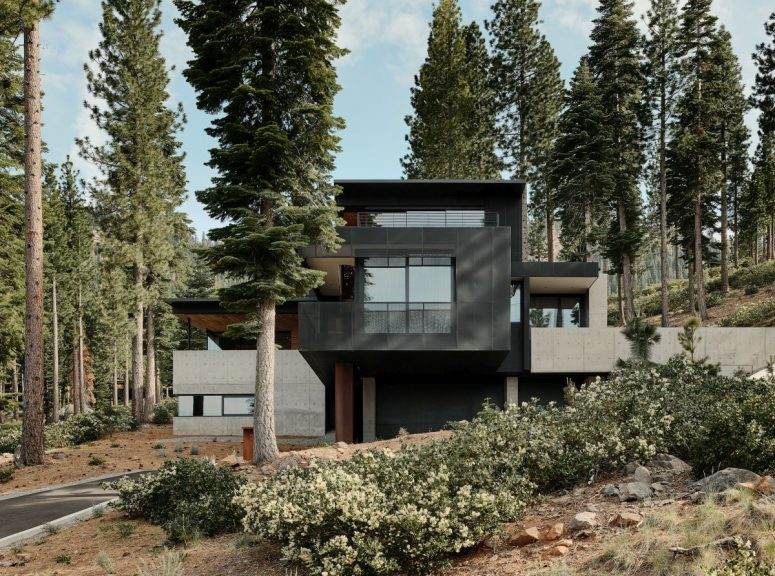 This stylish contemporary home was built in a volcanic location and it features interesting geometry