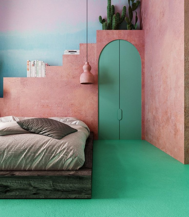 The master bedroom features Moroccan flavor, with a pink plaster wall, emerald doors, a weathered platform bed